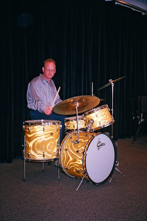 1960's Gretsch Gold Satin Flame Drum Kit