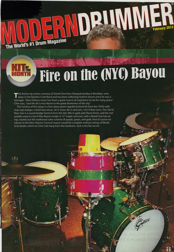 David Clive - Modern Drummer Feb 2012 Drum Kit of the Month