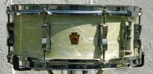 Ludwig 50s White Marine Peral Snare Drum